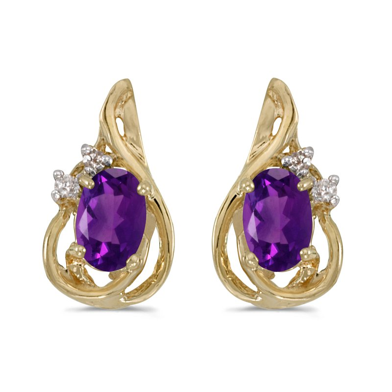Color Merchants 10k Yellow Gold Oval Amethyst And Diamond Teardrop Earrings
