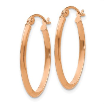 14k Rose Gold Polished Oval Tube Earrings