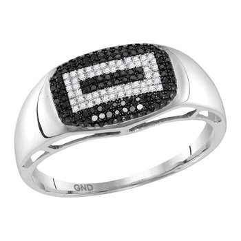 10kt White Gold Mens Round Black Color Enhanced Diamond Concentric Rectangle Cluster Ring 1/4 Cttw