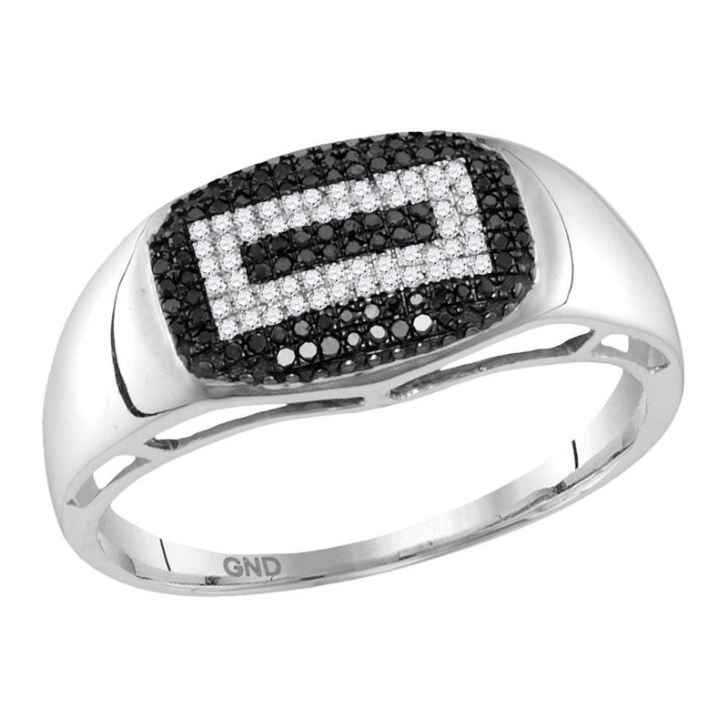 Gold-N-Diamonds, Inc. (Atlanta) 10kt White Gold Mens Round Black Color Enhanced Diamond Concentric Rectangle Cluster Ring 1/4 Cttw