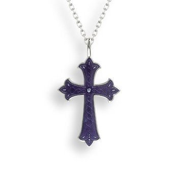 Purple Cross Necklace.Sterling Silver
