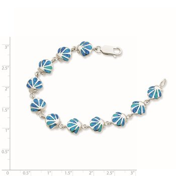 Sterling Silver 7in Created Blue Opal Inlay Shell Bracelet