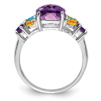 Sterling Silver Rhodium-plated Amethyst, Blue Topaz & Citrine Ring