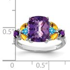 Quality Gold Sterling Silver Rhodium-plated Amethyst, Blue Topaz & Citrine Ring