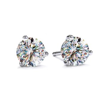 Fire Polish Diamond 3 Prong Martini Studs 3/4 CTTW