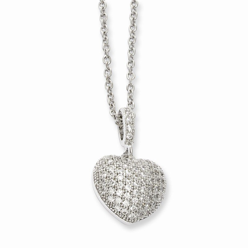 Arizona Diamond Center Collection Sterling Silver & CZ Brilliant Embers Polished Heart Necklace