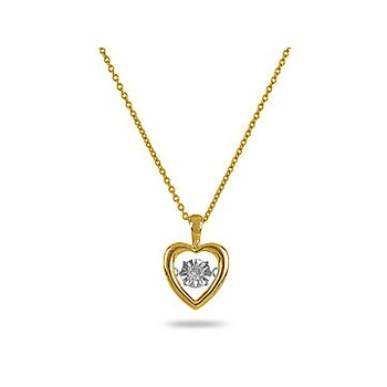 10K YW Solitaire Dancing Diamond Heart Pendant