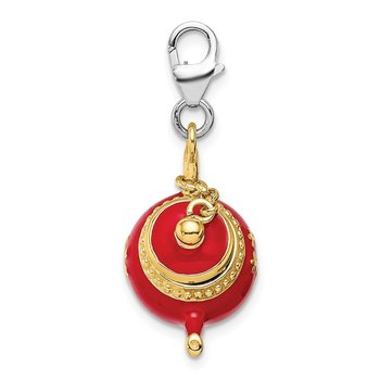 Sterling Silver Gold-plated Red Enameled Tea Pot w/Lobster Clasp Charm