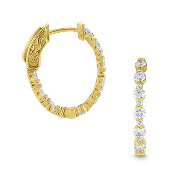 Diamond Oval Hoop Earrings Set in 14 Kt. Gold
