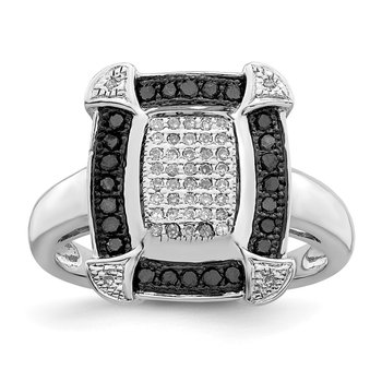 Sterling Silver Rhod Plated Black & White Diamond Ring