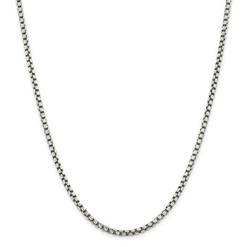 Sterling Silver Antiqued 3.5mm D/C Round Box Chain