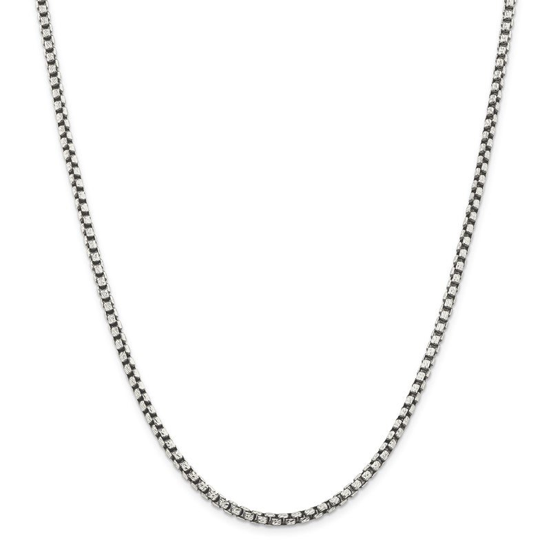 Quality Gold Sterling Silver Antiqued 3.5mm D/C Round Box Chain