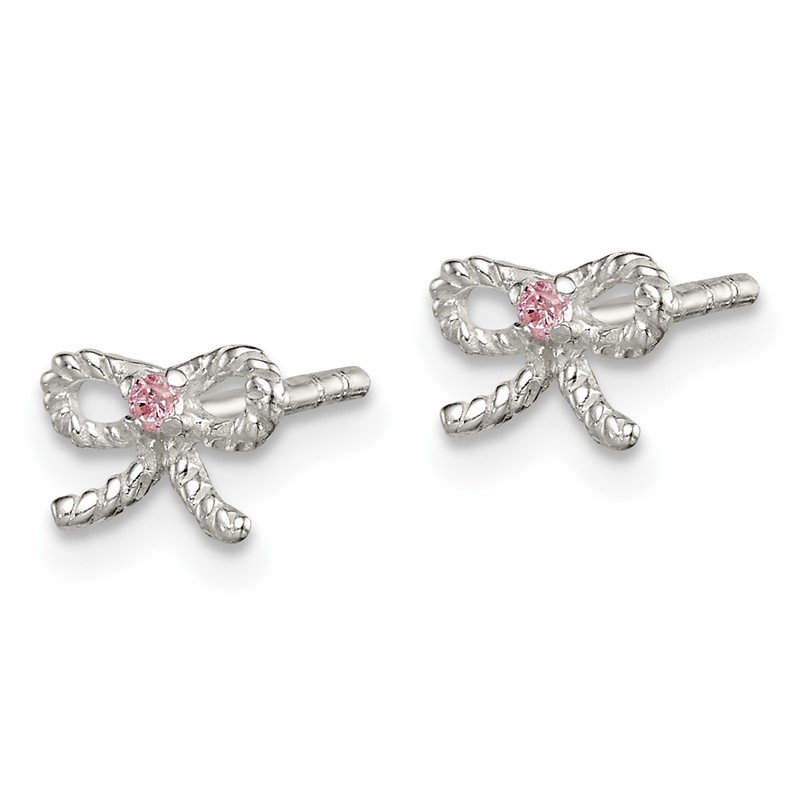 Quality Gold Sterling Silver Pink CZ Bow Kid's Post Earrings