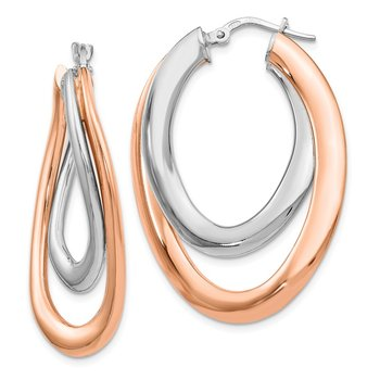Leslie's Sterling Silver Rose Gold-plated Double Oval Hoop Earrings