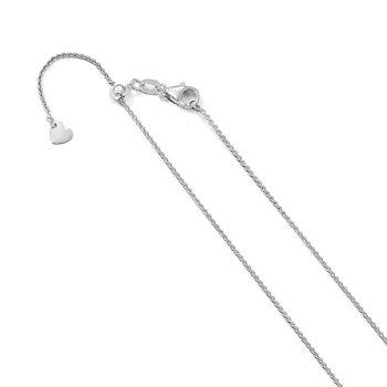Leslie's 14K White Gold 1.1 mm Round Cable Adjustable Chain