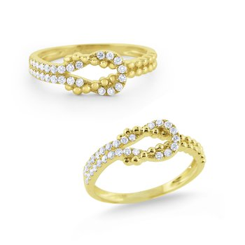 Diamond & Milgrain Love Knot Ring Set in 14 Kt. Gold