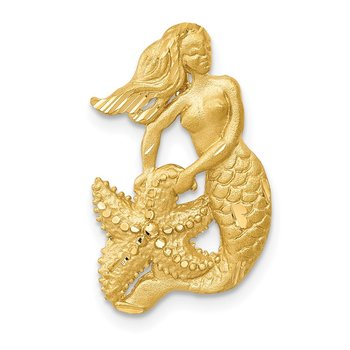 14k Satin Diamond-cut Open-Backed Mermaid Pendant