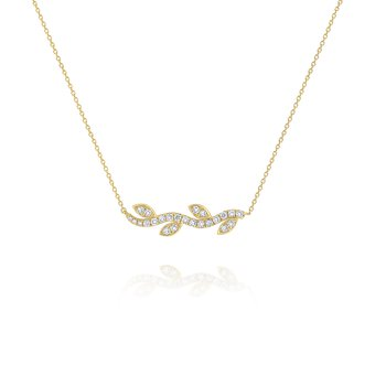 Diamond Vine Necklace Set in 14 Kt. Gold