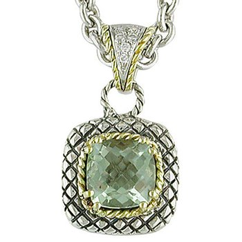 18kt and Sterling Silver Cushion Green Amethyst and Diamond Button Pendant with Chain