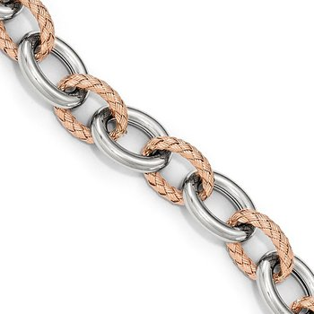 Leslie's Sterling Silver Rose-tone Polished & Woven Link Bracelet-Fancy Spr