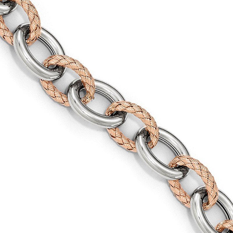Leslie's Leslie's Sterling Silver Rose-tone Polished & Woven Link Bracelet-Fancy Spr