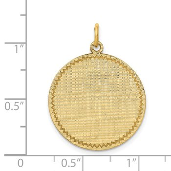 14k Patterned .018 Gauge Circular Engravable Disc Charm