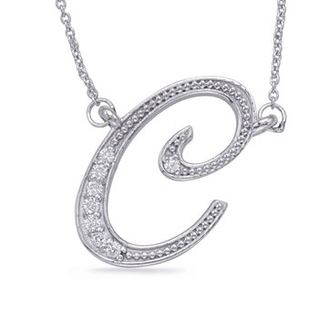 White Gold Diamond Initial C Pendant