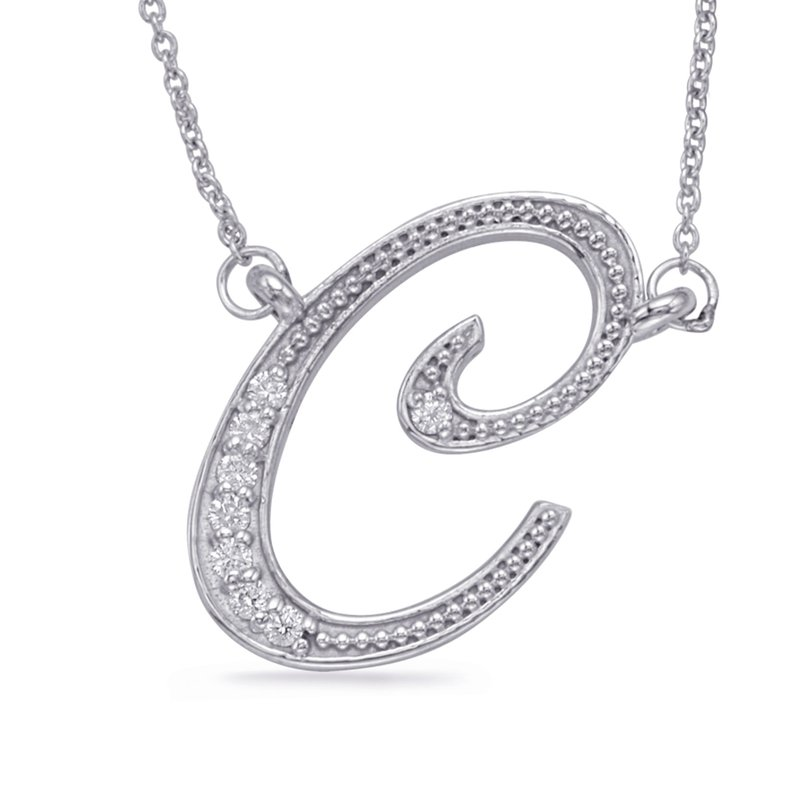 S. Kashi  & Sons White Gold Diamond Initial C Pendant