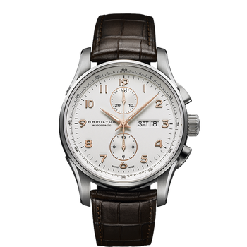 Hamilton Jazzmaster Maestro Auto Chrono - 45mm White Face - Brown Leather Strap