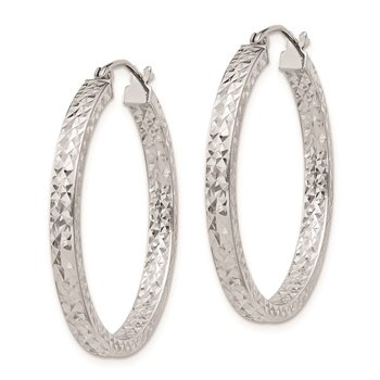 Sterling Silver Rhodium Plated Diamond Cut 3x30mm Hoop Earrings