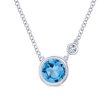 925 Sterling Silver Round Swiss Blue Topaz Pendant Necklace