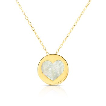 14K Gold Heart Mother of Pearl Necklace