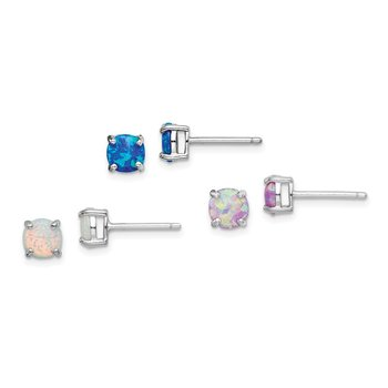 Sterling Silver Rhodium-plated Created Opal Set of 3 Stud Earrings