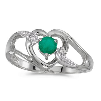 14k White Gold Round Emerald And Diamond Heart Ring