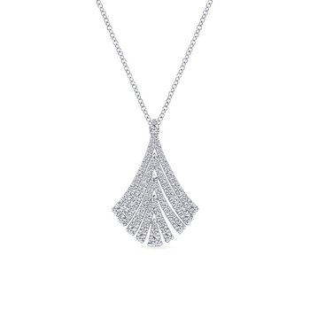14K White Gold Pavé Diamond Fan Pendant Necklace