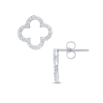 14k Gold and Diamond Open Clover Earrings
