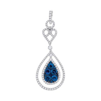 14kt White Gold Womens Round Blue Sapphire Teardrop Diamond Frame Pendant 3/4 Cttw