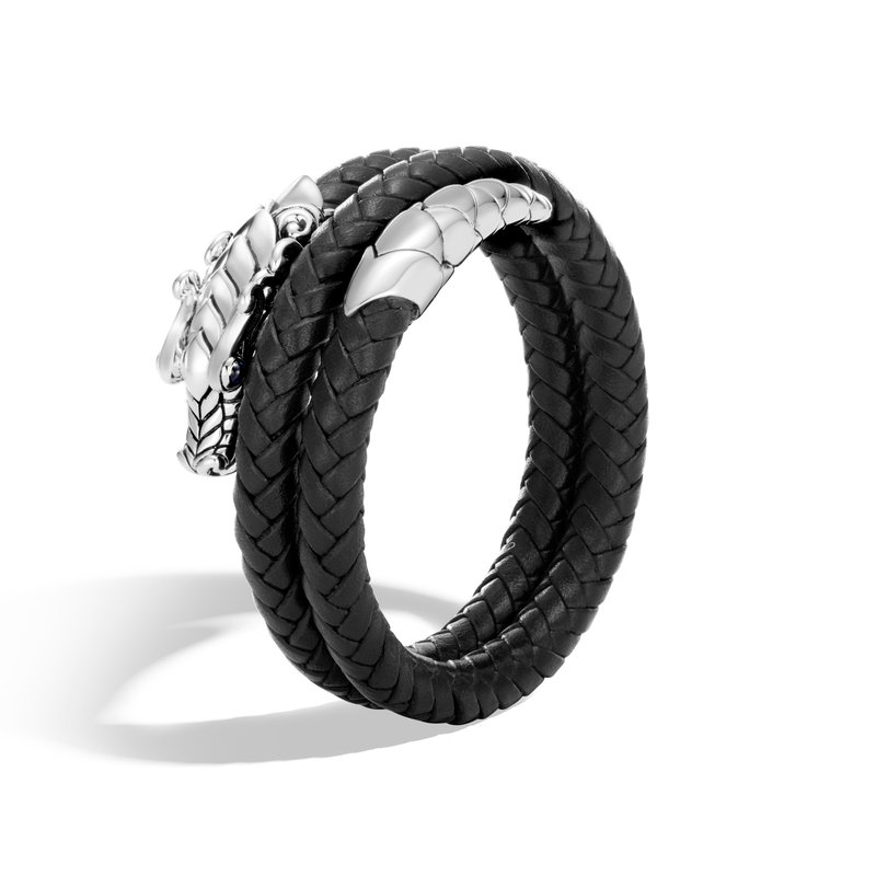 JOHN HARDY Legends Naga Double Coil Bracelet in Silver with Leather