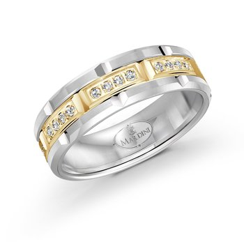 7mm two-tone white and yellow gold brick motif band, embelished with 32X0.01CT diamonds