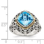Quality Gold Sterling Silver w/14k Blue Topaz Ring