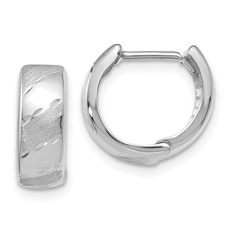 Leslie's Leslie's 14K White Gold Polished and Satin Hinged Hoop Earrings