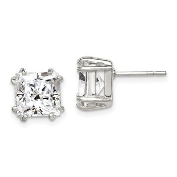Sterling Silver 8mm Princess CZ Stud Earrings