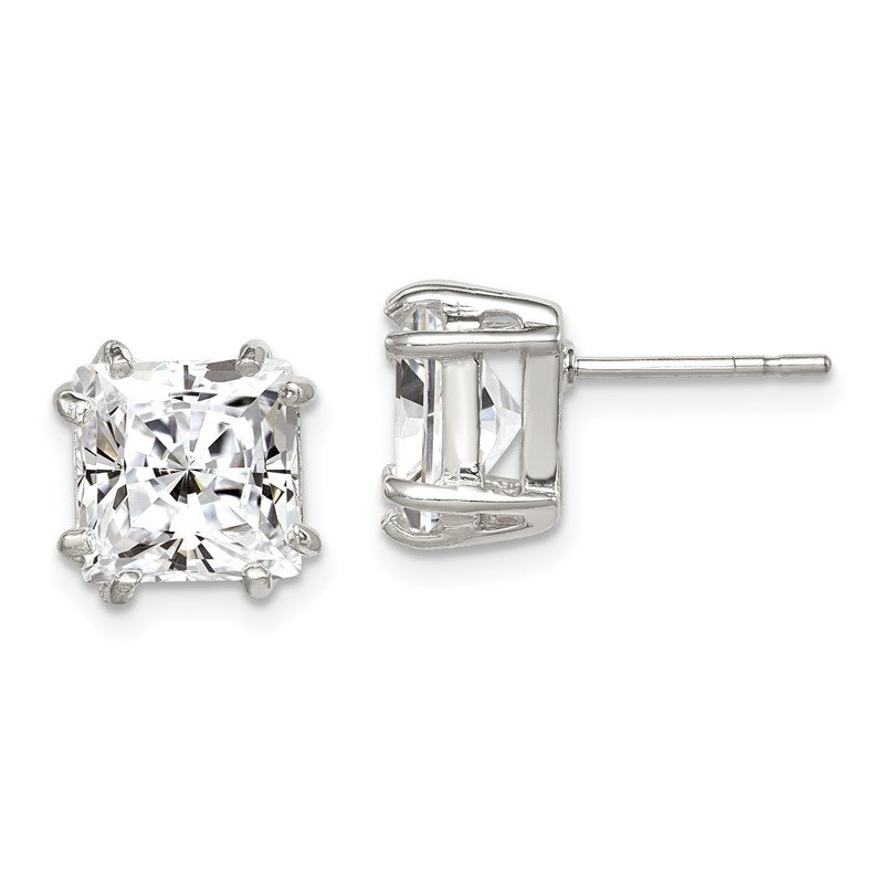 Arizona Diamond Center Collection Sterling Silver 8mm Princess CZ Stud Earrings