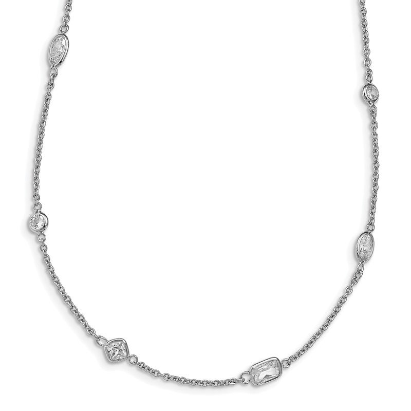 Cheryl M Cheryl M Sterling Silver Rhodium-plated CZ Station 36.5in Necklace