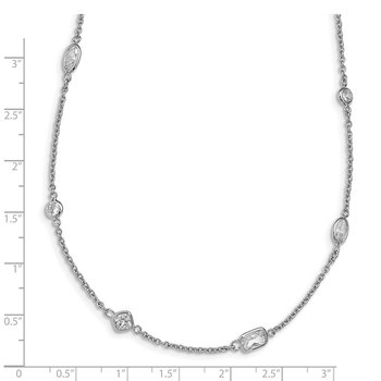 Cheryl M Sterling Silver Rhodium-plated CZ Station 36.5in Necklace