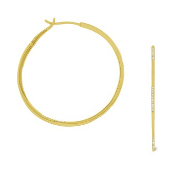 Diamond Hoop Earrings Set in 14 Kt. Gold