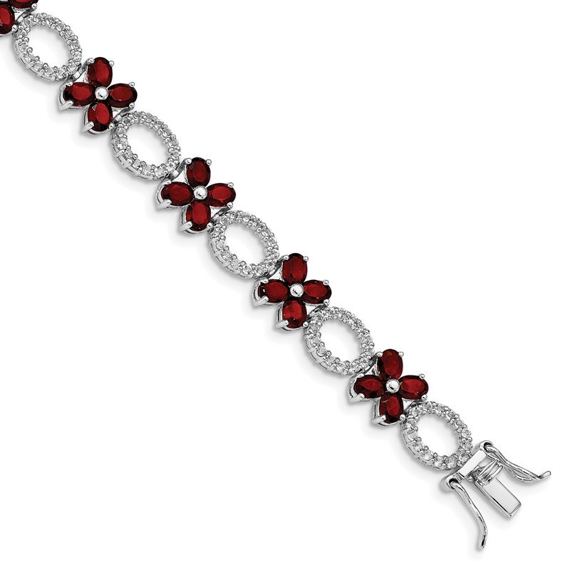 Arizona Diamond Center Collection Sterling Silver Rhodium-plated Garnet Flower w/Wht.Topaz Bracelet