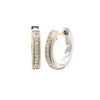 18kt and Sterling Silver Diamond Hoops