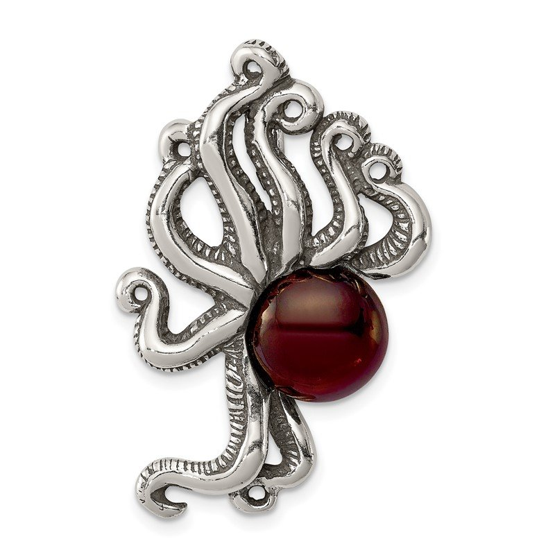 Quality Gold Sterling Silver Antiqued & Textured Octopus w/ Red Stone Chain Slide