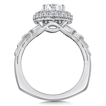 Diamond Halo Engagement Ring Mounting in 14K White Gold (.56 ct. tw.)
